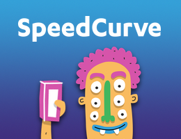Image of the SpeedCurve logo and an animated 6-eyed monster holding up a phone
